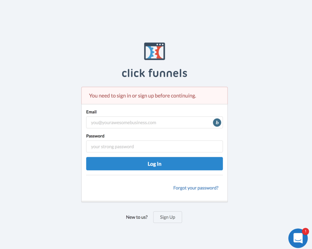 sign in to clickfunnels to connect account